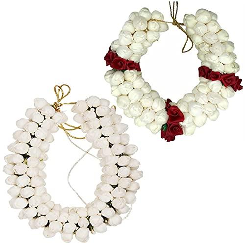 Radhna Gajra per capelli in gelsomino artificiale, fiore di mogana, ghirlanda di juda, decorazione per donne, accessorio realistico per capelli per ragazze (28 cm, rosso e bianco, confezione da 2)