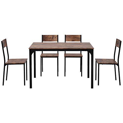 jeerbly Juego de mesa de comedor y silla de 4 marcos de madera de acero estilo industrial retro de cocina (natural)