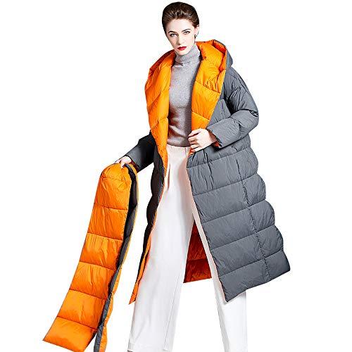 LHn-Cn Chaqueta de Invierno Abrigo de Plumas con Estilo con Capucha, Acolchada con Polar Gray L