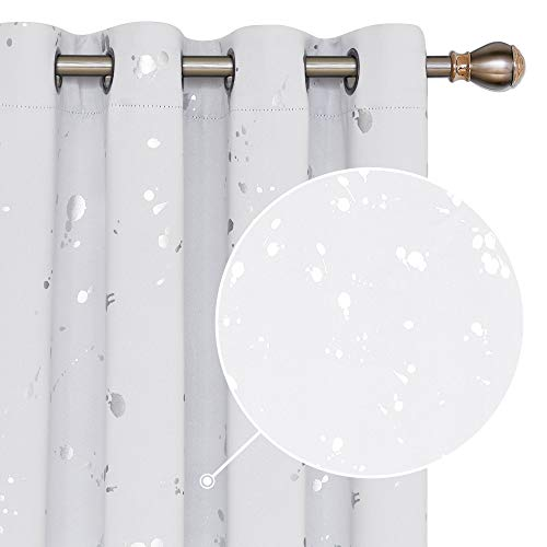 Deconovo White Silver Curtains Room Darkening Curtains for Bedroom Dots Printed Blackout Curtains 95 Inch Length Soundproof Window Curtain Drapes for Living Room 52W x 95L Greyish White 2 Panels