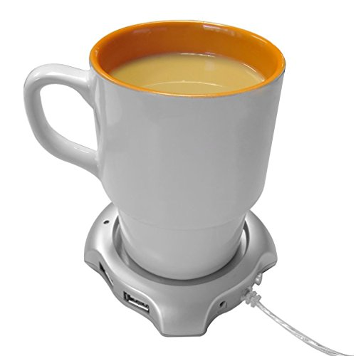 USB Beverage Warmers, HQF Desktop Mugs Coffee Tea Cup Warmer USB Electric Coaster + 4 Port USB Hub for Home office(Silver) -  SAP0006