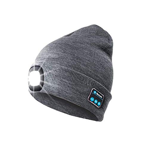 OHYGGE Bluetooth Cap Flashlight Led Beanie Flashlight Unisex Hat,Built-in Stereo Speakers Lighted Rechargeble Knitted Cap for Hunting, Camping, Grilling, Auto Repair, Jogging, Walking, Running,Gray