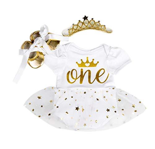 Marlegard® – Baby-Tutu-Kleidchen mit Kronen-Motiv, zum 1. Geburtstag, inkl. Haarband und Schuhe, 3-teiliges Set Gr. Einheitsgröße , weiß