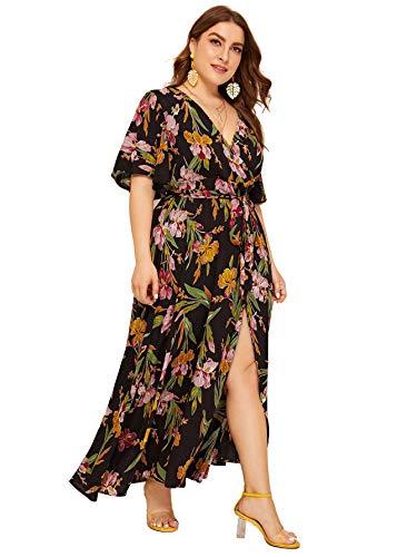 Milumia Women Plus Size Floral Boho Wrap V Neck High Waist Maxi Dress Brown
