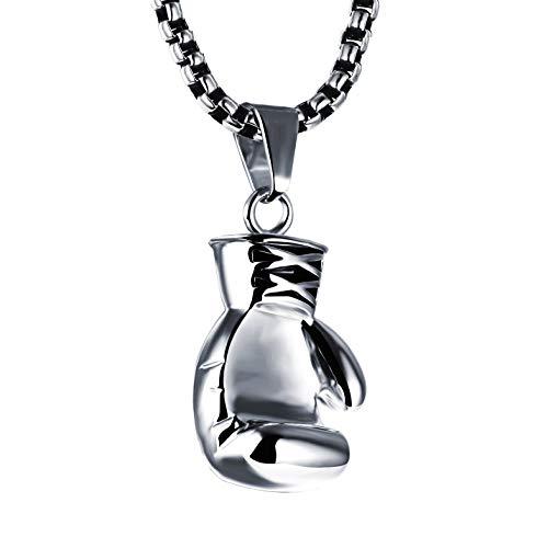Joeyan Herren Halskette mit Boxhandschuh Anhänger Silber