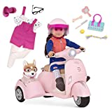 Our Generation- Scooter & Side Car Bundle with 18' Doll Leslie- Toy Car & Vehicle Accessory for 18' Dolls- for Ages 3 Years & Up