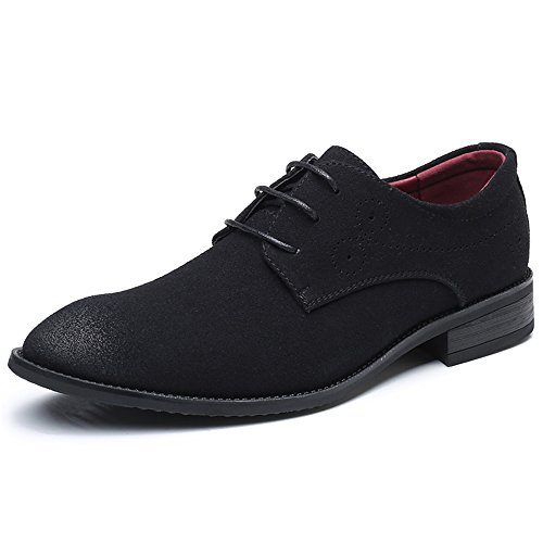 AARDIMI Schnürhalbschuhe Herren Derby Oxfords Modische Anzug Schuhe Lace ups Herren Business Schuhe Hochzeit Schuhe (44, Schwarz)