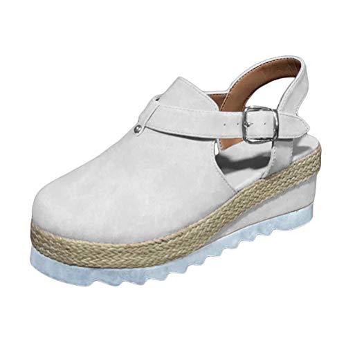 Minetom Sandali Donna Moda Fibbia Estivi Sandals Romani Shoes Traspirante Casual Scarpe Zeppa Piattaforma Eleganti Bianco 35 EU