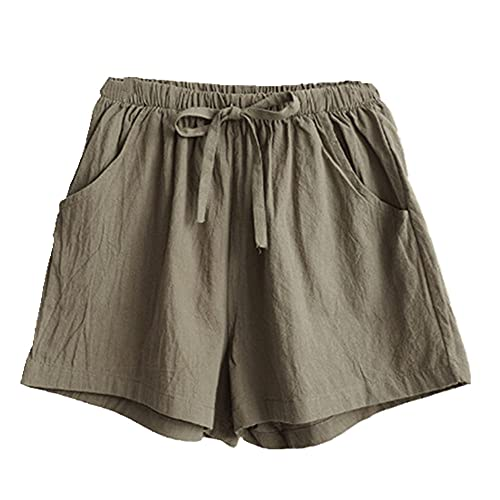 N\P Pantalones cortos de las mujeres de verano casual pantalones cortos más el tamaño de cintura media corta mujer