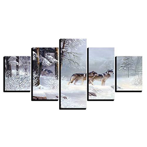 WHFDH muurkunst modern huis 5 stuks van dieren in sneeuw wolf afbeelding decoratie woonkamer Hd druk op canvas schilderij 40x60 40x80 40x100cm Frame
