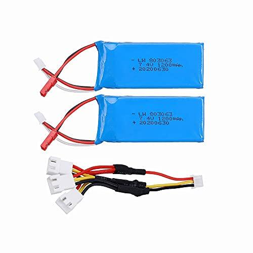 Batería Lipo de 7,4 v 1200 mAh para Yizhan Tarantula X6 H16 MJX X101 X102h RC Drone 2S batería y Cargador para WLtoys V666 V262 V323 2pcs3in1