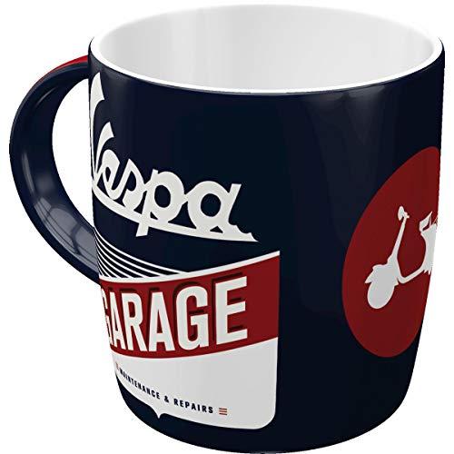 Nostalgic-Art Retro Kaffee-Becher - Vespa - Garage, Große Lizenz-Tasse mit Vespa-Motiv, Vintage Geschenk-Idee für Vespa Roller Fans, 330 ml