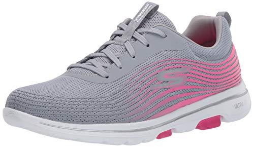 Skechers Go Walk 5, Sneaker Donna, Grigio Grigio Tessuto Rosa Trim Gypk, 37 EU