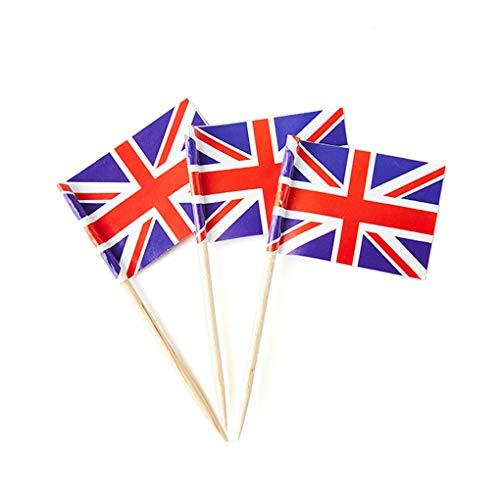 UK Flag Toothpick Mini Stick Flags Decorations (100 Pack)