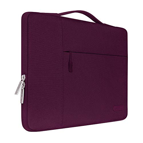 MOSISO Laptop Briefcase Compatible with 13-13.3 Inch Laptop, Notebook, MacBook Air/Pro, Polyester Multifunctional Sleeve Carrying Bag, Wine Red