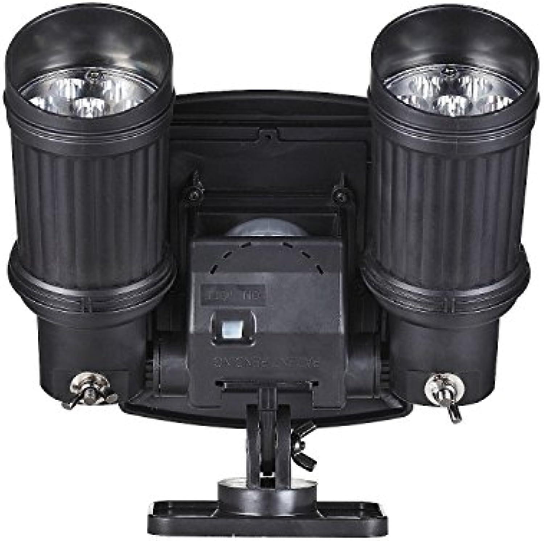 ZYJ 2  7 LED Solar Doppelscheinwerfer, Highlight Garage Lights Body Lights Super Spotlight, Schwarz