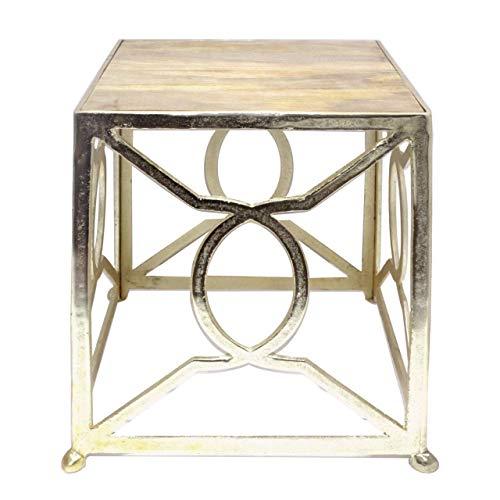Soma bijzettafel metaal decoratieve tafel vierkant 45x51x45 cm Marriot plaat mangohout massief aluminium GOL (BxHxL) 35 x 46 x 35 cm