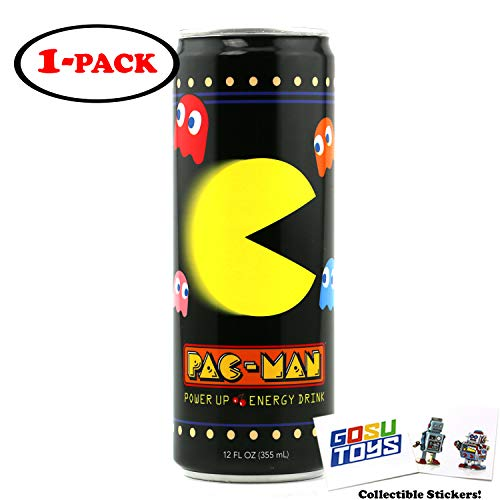 Pac Man Power Up Energy Drink 12 FL OZ (355mL) Can With 2 Gosutoys Stickers