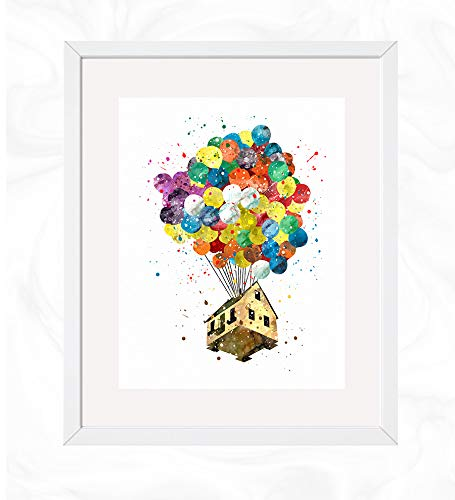 Balloons House Prints, Disney UP Watercolor, Nursery Wall Poster, Holiday Gift, Kids and Children Artworks, Digital Illustration Art
