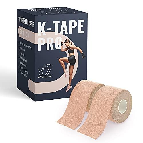 TK-Sports Premium Kinesiologie Tape 5cm x 5m - Wasserfest & Elastisch - Kinesiotapes Set in versch. Farben | Physio Tape | Sport Tape (2er Set)