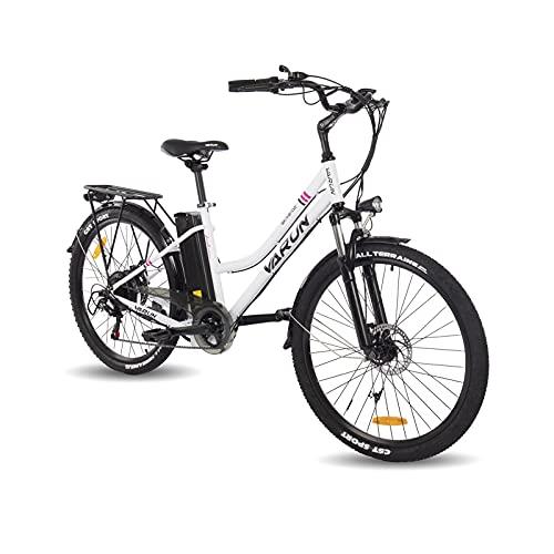 VARUN E-Bike Damen und Herren 26 Zoll mit 250W Motor 36V 10,4Ah(360Wh) Abnehmbare Lithiumbatterie für Erwachsene City Pendler Elektrofahrrad mit Shimano 7-Gang-Getriebe (Weiß)