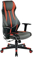 OSP Home Furnishings Gigabyte High-Back LED Lit Gaming Chair, Black Faux Leather with Red Trim and Accents