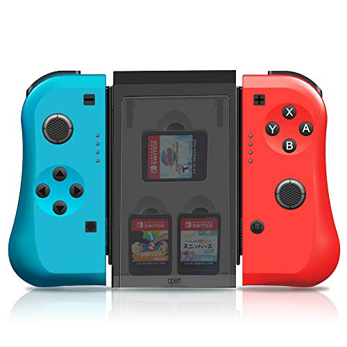 MAXKU Joy Con Controller Replacement for Nintendo Switch,Joycon Pad L/R with 3 Storage Slots Comfort Grips Wireless Switch Remotes Motion Control- Red and Blue