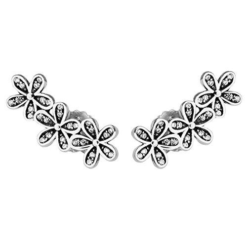 COOLTASTE Pendientes de tuerca de plata de ley 925 con diseño de margaritas brillantes y circonitas transparentes para mujer