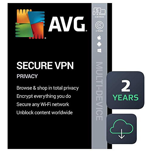 AVG Secure VPN 2021 | 5 Devices, 2 Years [PC/Mac/Mobile Download]