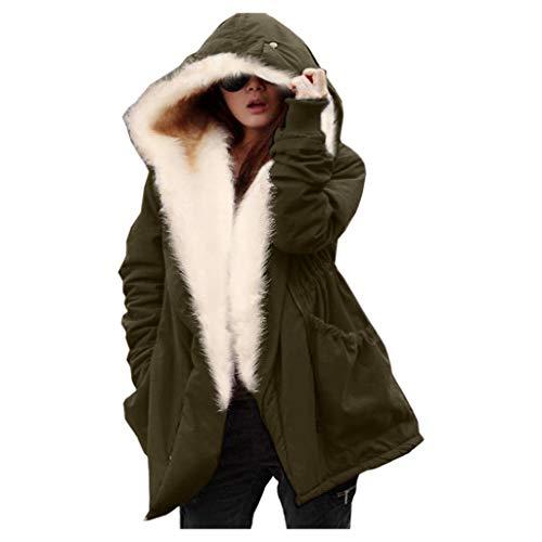 Sannysis Damen Winterjacke Mit Fellkapuze Parka Jacke Winter Fell Dicker Mantel Kapuze Warm Gefüttert Coat Teenager Mädchen Wintermantel Gr S-2XL (S, Armeegrün)