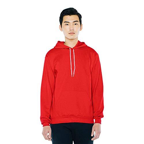 American Apparel Mens Flex Fleece Long Sleeve Pullover Hoodie Hooded Sweatshirt Red XS