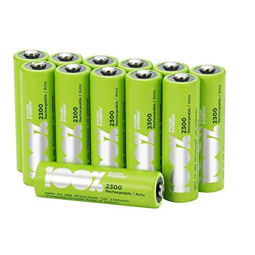 Pile Ricaricabili AA - Confezione da 12 Batterie Stilo Ricaricabili - Peakpower - NiMh AA / LR6 Ricaricabili da 2300 mAh - Precaricate