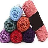 Ovillo de ganchillo romántico, 100 g/ovillo, súper grueso, cálido, duradero, doble tejido de lana de bebé para manualidades, chal, bufanda de ganchillo suministros (5 bolas de 100 g, color 36)