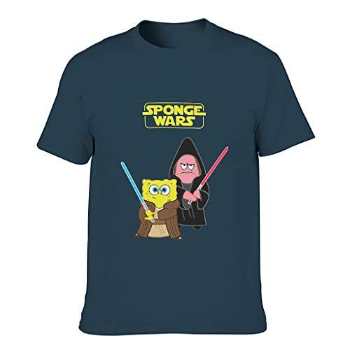 Camiseta de algodón Ouniaodao Sponge Wars hombres Slim-Fit corta camisa Azul azul marino 3XL
