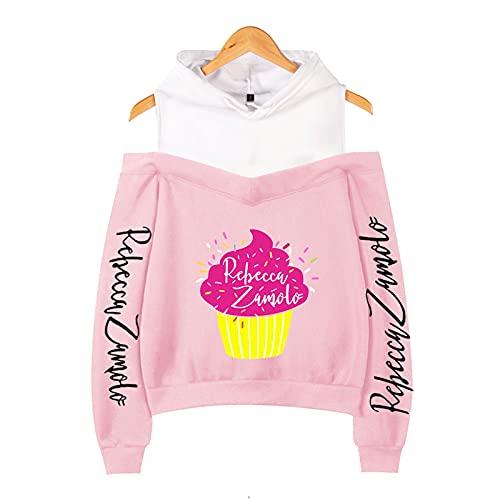 CCEE Odzież damska babeczka Zamfam Merch Logo Rebecca Zamolo Off Shoulder Bluza z kapturem Kpop moda seksowna damska bluza różowy XXL