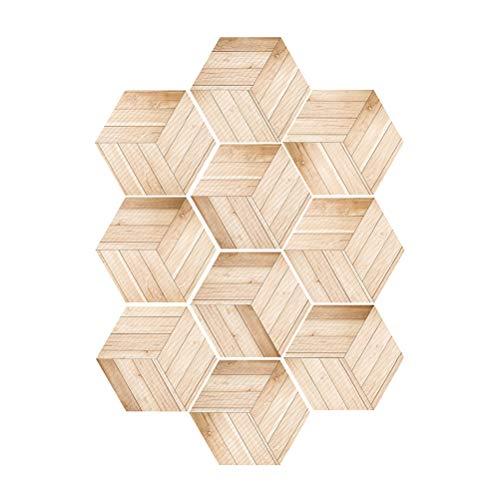 Vosarea - Lote de 10 azulejos autoadhesivos hexagonales de madera, efecto de grano, autoadhesivos para suelos de baldosas, decoración de pared, impermeable, no esquí, cocina, cuarto de baño, azulejos