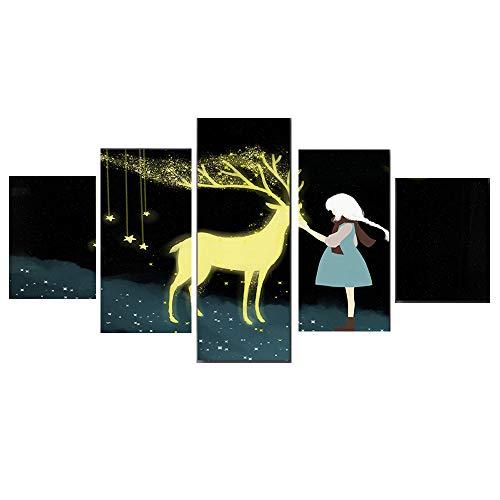 RUIXINBC Print Canvas Schilderij, 5 Stuks Muur Kunst Olie Schilderen Kerstmis Goud Hert Foto Print op Doek op Woonkamer Art Decoratie