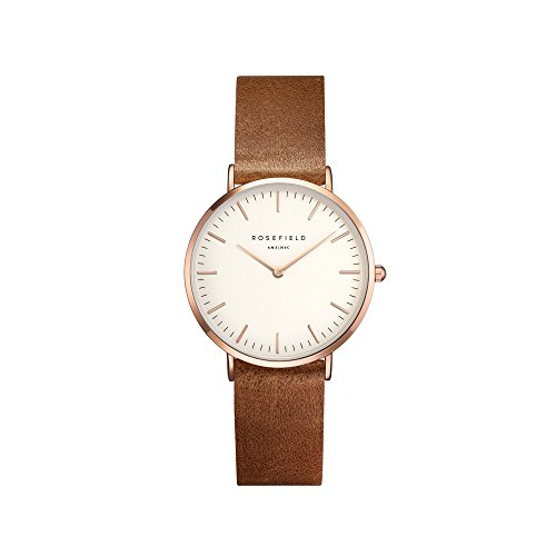 Rosefield Damen Analog Uhr The Tribeca Weiß Brown Roségold TWBRRC-T55