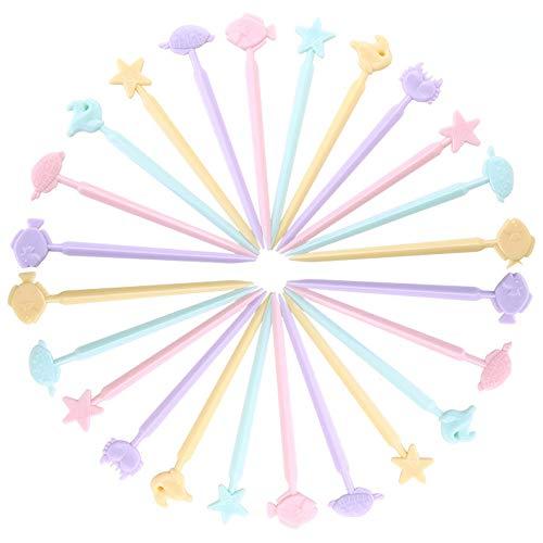 Deer Platz 40 Stück Obstgabel, Mini Tiere Zahnstocher, Karikatur Zahnstocher Sticks, für Lebensmittel, Obst, Kuchen ideal für Kinder, Mit Box (Farben mischen)