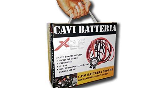 F.LLI IANNACCONE SRL XONE Cavi Batteria Cavo Professionale per Auto E Moto 500 AMP Facile da Usare OMOLOGATO 12-24V COSTRUITO per Alte/Basse Temperature 500AMP. Dimensioni: 3.60M X 20MM