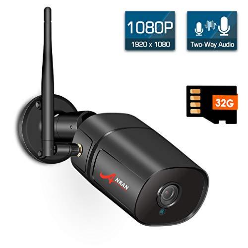 WLAN Überwachungskamera Anran 1080P Kabellose Außen Innen IP Kamera mit 32G SD Karte Speicher Zwei Wege Audio HD Nachtsicht und Bewegungsmelder Kostenlose Handy-App Fernzugriff