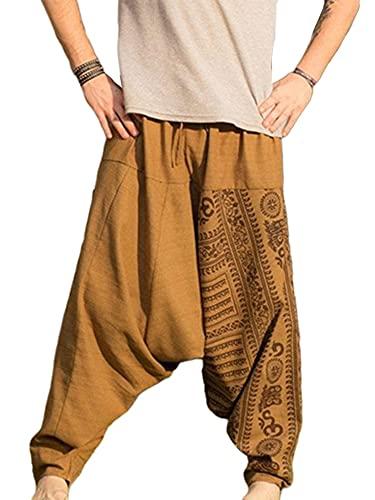 Abtel Men's Harem Pants Cotton Wide Drop Crotch Trousers Baggy Yoga Dance Beach Pants...