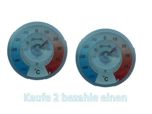Fenster - Aussen - Klebe Thermometer Analog . Fensterthermometer von Conny Clever® AKTION 2er Packung