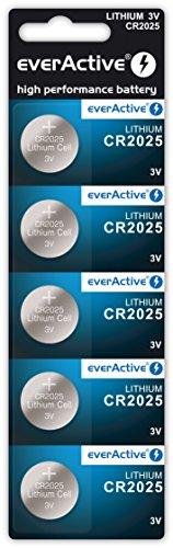 5x CR2025 EverActive batteria al litio a bottone 3 volt Blister scadenza 2024