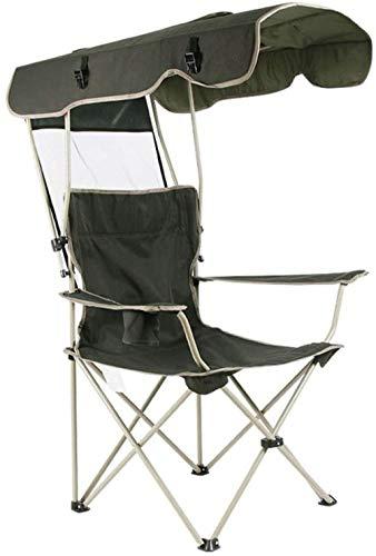 Lounger loungestoel, klapstoel met luifel, draagbare comfortabele fauteuil voor buiten picknicken, kamperen (kleur: groen)