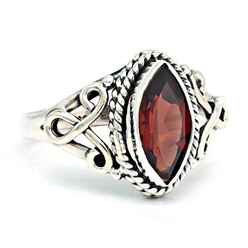 Ring Silber 925 Sterlingsilber Granat (facett) rot Stein (Nr: MRI 183), Ringgröße:62 mm/Ø 19.7 mm