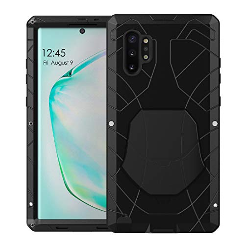 Feitenn Galaxy Note 10 Plus Case Metal, Note 10 Plus 5G Case Heavy Duty, Gorilla Glass Cover Armor Aluminum Bumper Military Shockproof Defender for Samsung Galaxy Note 10 Plus/Note 10+ 5G - Black