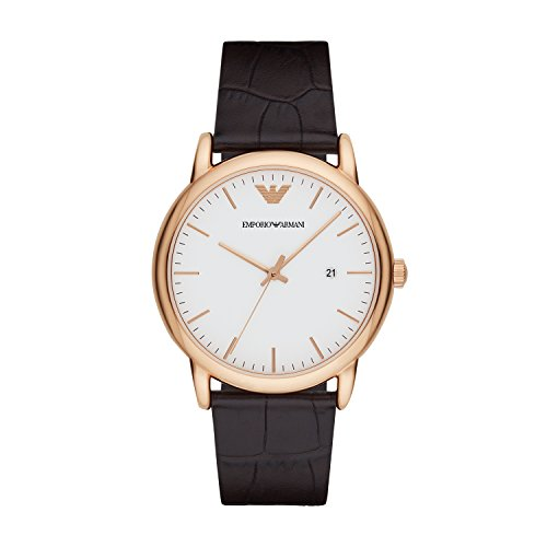 Emporio Armani Herren Analog Quarz Uhr mit Leder Armband AR2502