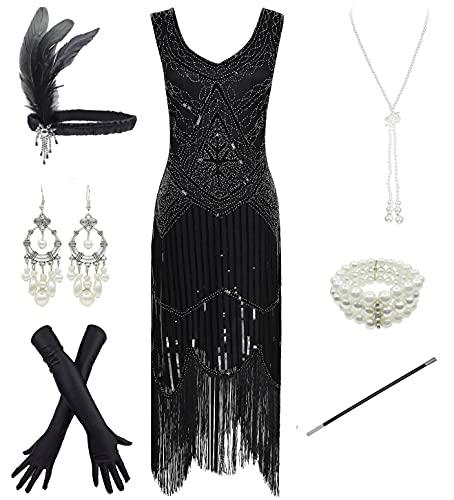 FUNDAISY 1920er Jahre Gatsby Pailletten gefüttert Paisley Flapper Dress Set mit 20er Jahre Zubehör