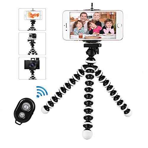 Phone Tripod Stand, Flexible Cell Phone Tripod Portable and Adjustable Camera Stand Holder with Wireless Remote Compatible for iPhone Android Phone Samsung Compact Digital Camera
